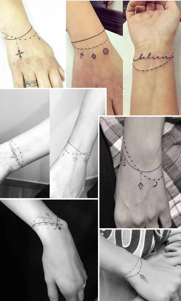 Tatuagens delicadas de pulseira