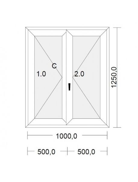 fenetre pvc 2 vantaux a la francaise blanche pour tableau 125 x 100 cm