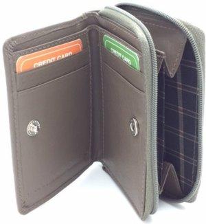 Kleingeld portemonnee / kaarthouder leder taupe29935