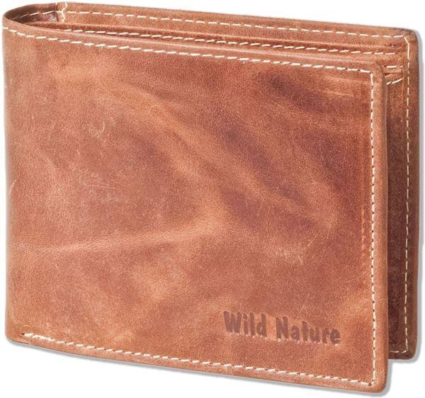 Wild Nature - Leren Vintage Heren Billfold Portemonnee | Cognac