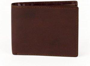 Leren heren portemonnee, kastanjebruin, twee vakken, 7 vakken voor pasjes, ideaal billfold maat.