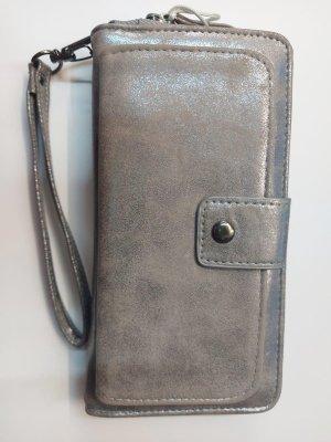Bags And Wallets - Dames Portemonnee - Met Telefoonvakje - Clutch - Afneembare Polsband - Grijs Metaal - 8 pasjes