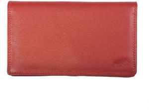 Dames Portemonnee RFID In Rood Leer - Grote Dames Portemonnee Anti-Skimming Met Dubbele Klep