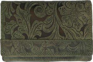 Lederen Dames Portemonnee RFID Groen - Luxe Dames Portemonnee Met Ruime Vak Voor Kleingeld