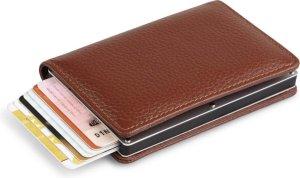 Lederen portemonnee - Pasjeshouder - Creditcardhouder - Portefeuille - Uitschuifbare wallet - Bruin