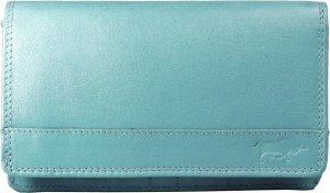 Leren Damesportemonnee Lichtblauw RFID - Lederen Dames Portemonnee - Harmonica Model