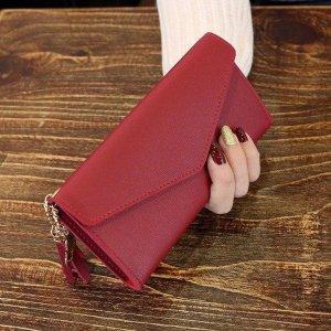 Luxe Portemonnee met Envelop Drukknoop | Rood | voor Pasjes en Muntgeld | Accessoires