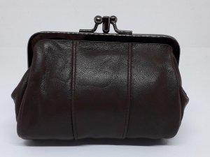 Oma beurs portemonnee met knip, donkerbruin