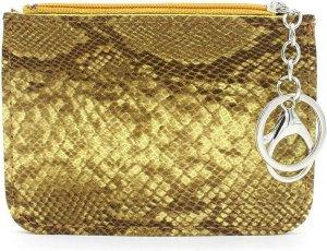 Portemonnee met Sleutelhanger - PU Imitatie Slangenleer - Ritssluiting - 12x9 cm - Geel - Dielay