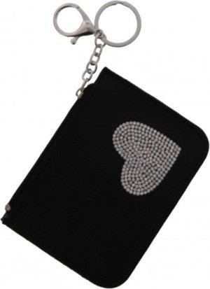 Portemonnee - sleutelhanger- hartje - PU - zwart - 12x9 cm - Ultimate Travelstyle