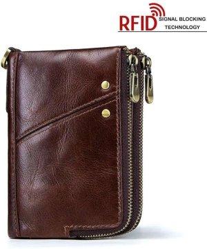 RFID Leren Dames Portemonnee met Rits Portefeuille - Billfold Bruin