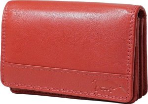 Rode Dames Portemonnee Leer RFID - Met Klepje Voor Kleingeld - Portemonnee Dames Anti-Skim