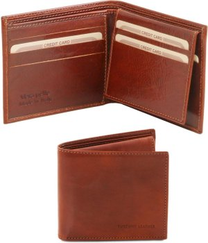 Tuscany Leather Exclusieve 3 fold leren portemonnee voor mannen - Bruin - TL141353