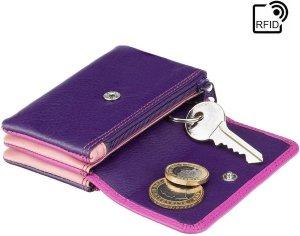 Visconti Dames Portemonnee - Sleuteltasje - Leer - RFID - Rainbow Collectie - Paars-Multi (RB99 BY)