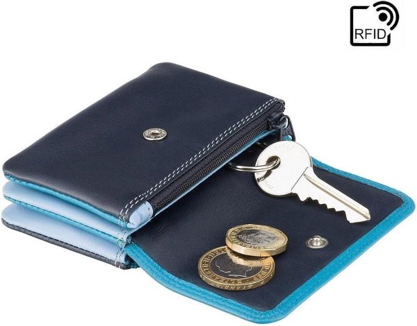 Visconti Portemonnee - Sleuteltasje - Leer - RFID - Unisex - Rainbow Collectie - Blauw-Multi (RB99 BE)