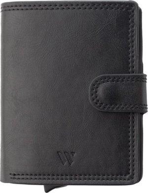 Wallix® Pasjeshouder Portemonnee - Uitschuifbaar - Unisex - 100% RFID Veilig - Creditcardhouder van Leer & Aluminium - Zwart/Zwart