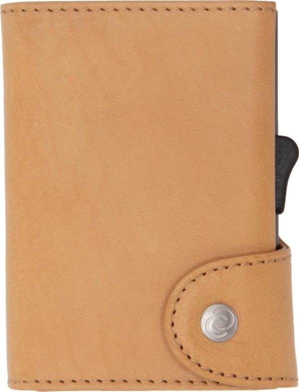 XL Vegetable Tanned Wallet C-secure, ruimte voor 8 tot 12 passen, Ruimte voor Briefgeld en Muntgeld, met Aluminium Pasjeshouder, RFID beveiliging (Lichtbruin)