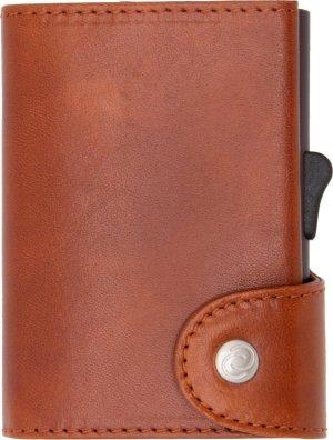 XL Vegetable Tanned Wallet C-secure, ruimte voor 8 tot 12 passen en Briefgeld, Luxe portemonnee met aluminium cardprotector, RFID beveiliging (Roodbruin)