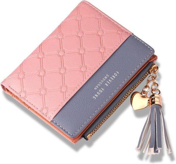 ZILOU® Compacte Portemonnee - Mini Wallet - Portefeuille - Dames - Kunstleer - Roze