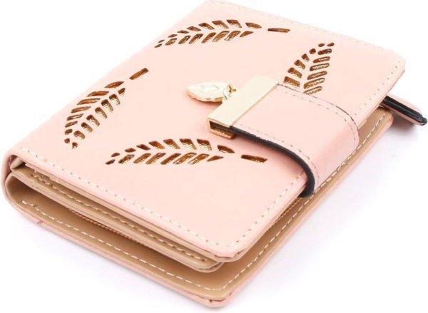ZILOU® Overslagportemonnee - Compacte Mini Wallet - Bladmotief - Kaarthouder - Dames - Kunstleer - Roze