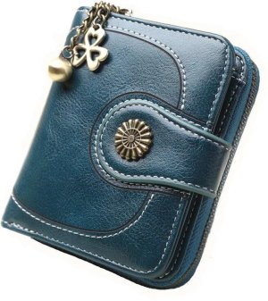 ZILOU® Portemonnee Compact Leer Blauw