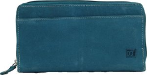 Double D - Grote Dames Portemonnee - Clutch - 100% Leer - Anti skim - Jeans blauw / turquoise blauw