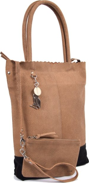 Shopper van 4East met kleine portemonnee, Leren Shopper Zichron 4East bruin