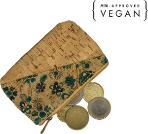 green-goose Kleingeld Portemonnee | Blauwe Bloem | Vegan | Peta Approved | 100% Natuurlijk Kurk | Duurzaam | Biologisch Afbreekbaar