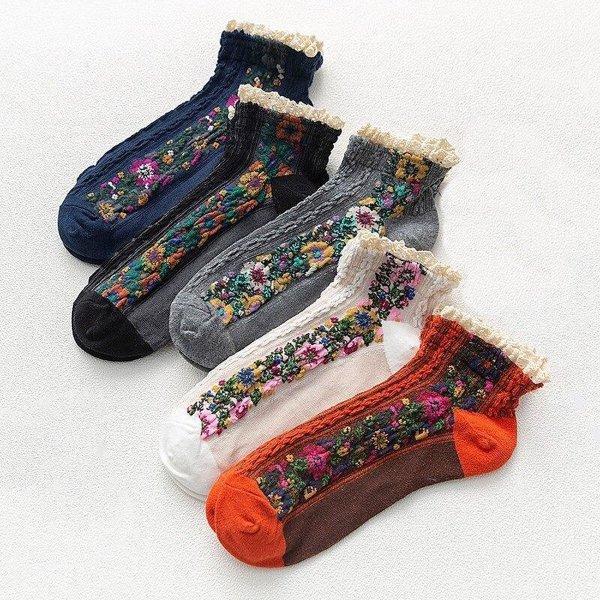 Dames Sokken - 5 Paar - Roodorange / Zwart / Grijs / Wit / Marineblauw - Vintage - Fleurige Bloemen - Maat 36-41 - Comfortabel & Duurzaam