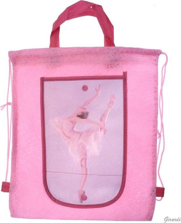 Roze Ballet Tasje - Rugzakje met Ballerina - Opvouwbare Portemonnee - Meisjes - Versie A