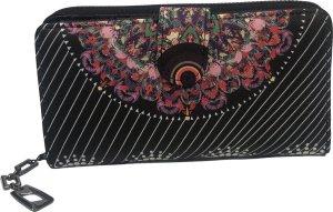 THL Design - Portemonnee Dames - Ritsportemonnee - Grote Dames Portemonnee - Bloemenprint - Zwart Multicolour