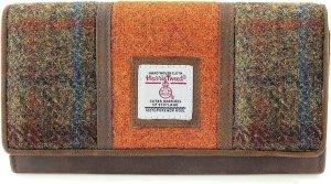 The British Bags Company Twinned Orange / Brown Harris Tweed dames portemonnee groot
