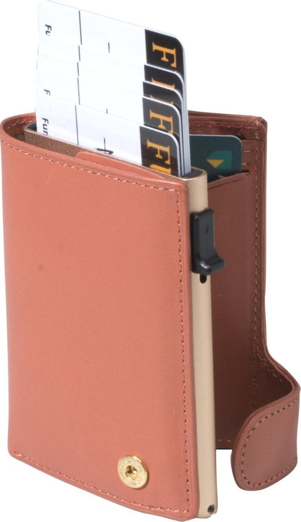 Tony Perotti Aluminium RFID portemonnee met papiergeld vak - Perzik
