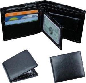 Zwarte Heren Portemonnee - Heren - Billfold - Portefeuille - Zwart - 10 pasjes