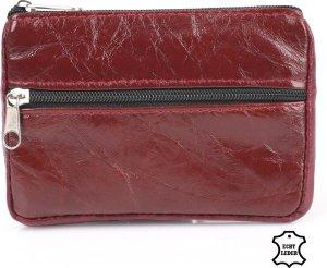 Bagwise Sleuteltasje - mini Portemonnee -Sleutelring - Pasjeshouder - Sleutelhoes - 8cm x 11cm -Echt Leer - Bordeaux