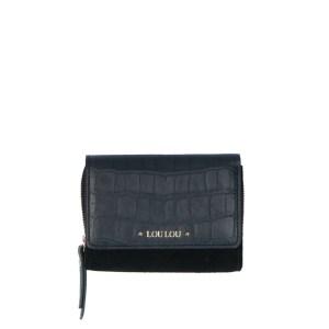 LouLou Essentiels Classy Croc Gold Wallet Small Black