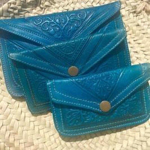 Dames Boho Portemonnee Leer - Blauw maat S