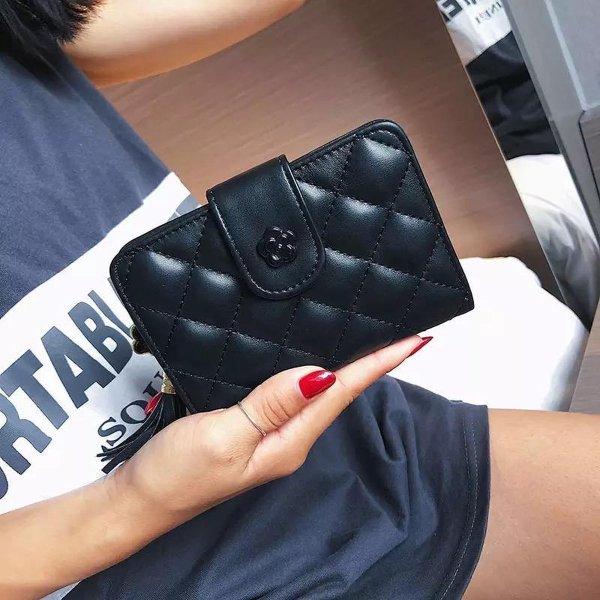 Dames Portemonnee - GRATIS CADEAU - Portefeuille Vrouwen - Zwart Leer - van Handythings