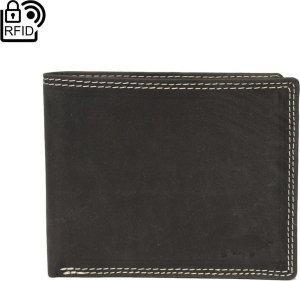 Heren Portemonnee Echt Leer Matzwart RFID - Heren Portemonnee Zwart Anti-Skim - Zwarte Heren Portemonnee