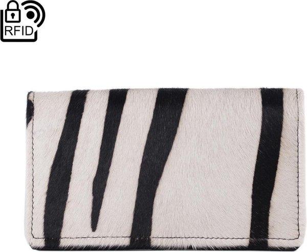Lederen Dames Portemonnee RFID Zwart Leer Met Dierenprint - Dames Portemonnee Leer Met Vacht