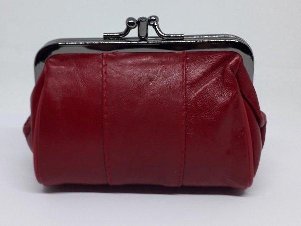 Oma beurs portemonnee met knip, rood