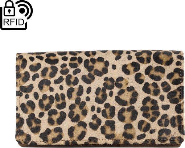 Portemonnee Dames Leer RFID - Leren Dames Portemonnee Zwart Met Dierenprint En Anti-Skim Bescherming