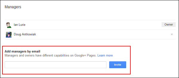 Add a Google+ Manager by email