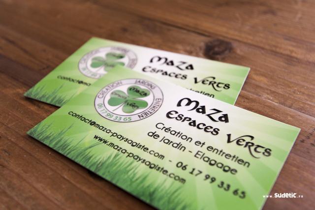 Cartes De Visite Avec Pelliculage Mat Soft Touch Et Vernis Selectif 3D Realisees Pour La Societe Maza Espaces Verts
