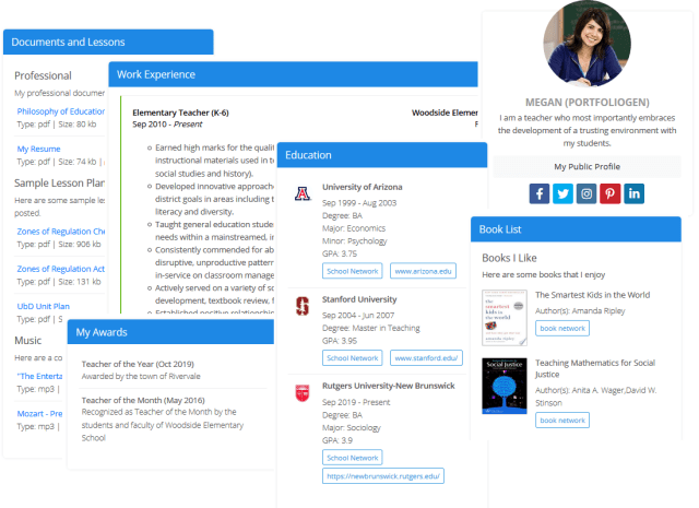 Digital Portfolio Websites For Teachers, Students, Educators and