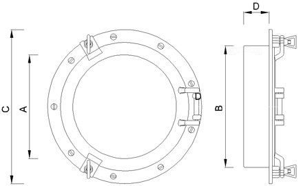 Large brass portholes for installation in your walls and doors