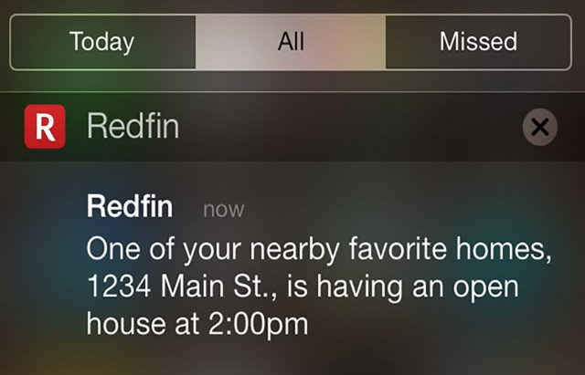 Redfin Open House Alerts