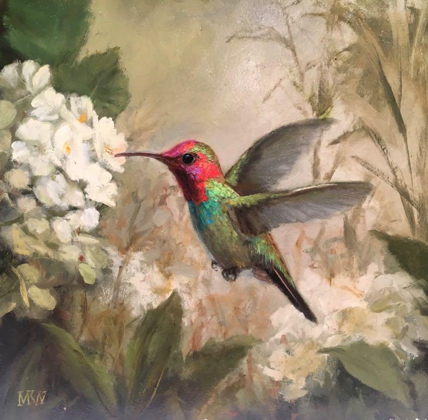Humming Bird with White Flowers