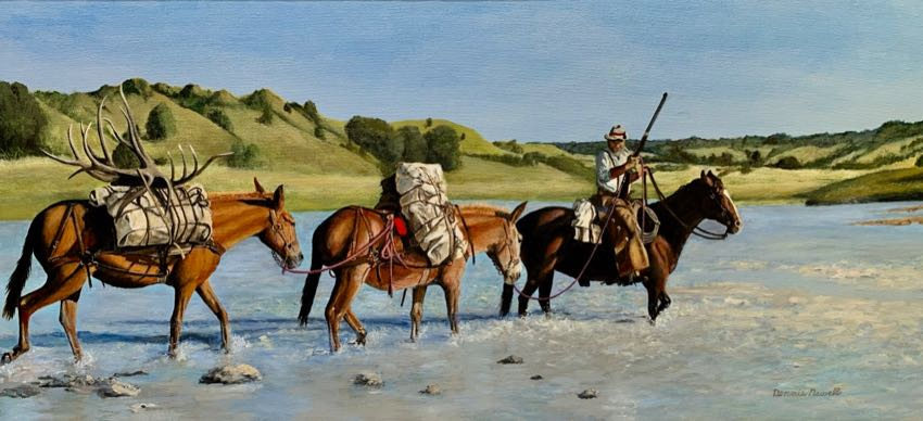 Crossing the Cheyenne Dennis Newell 18x38 oil