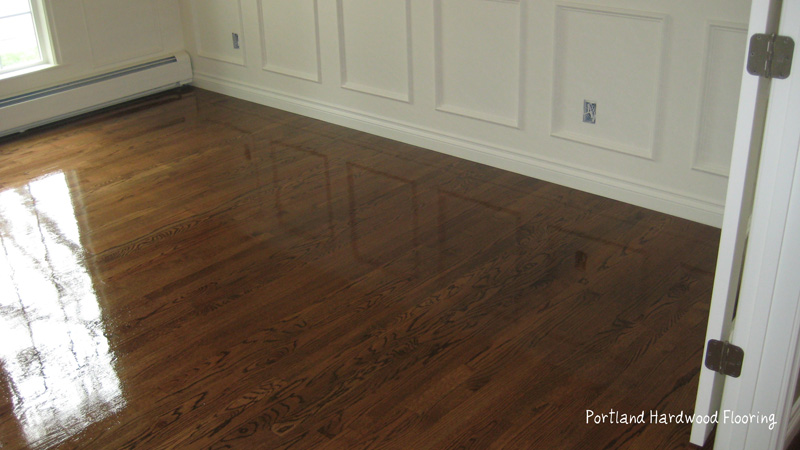 Oak with medium brown stain  Portland Hardwood Flooring